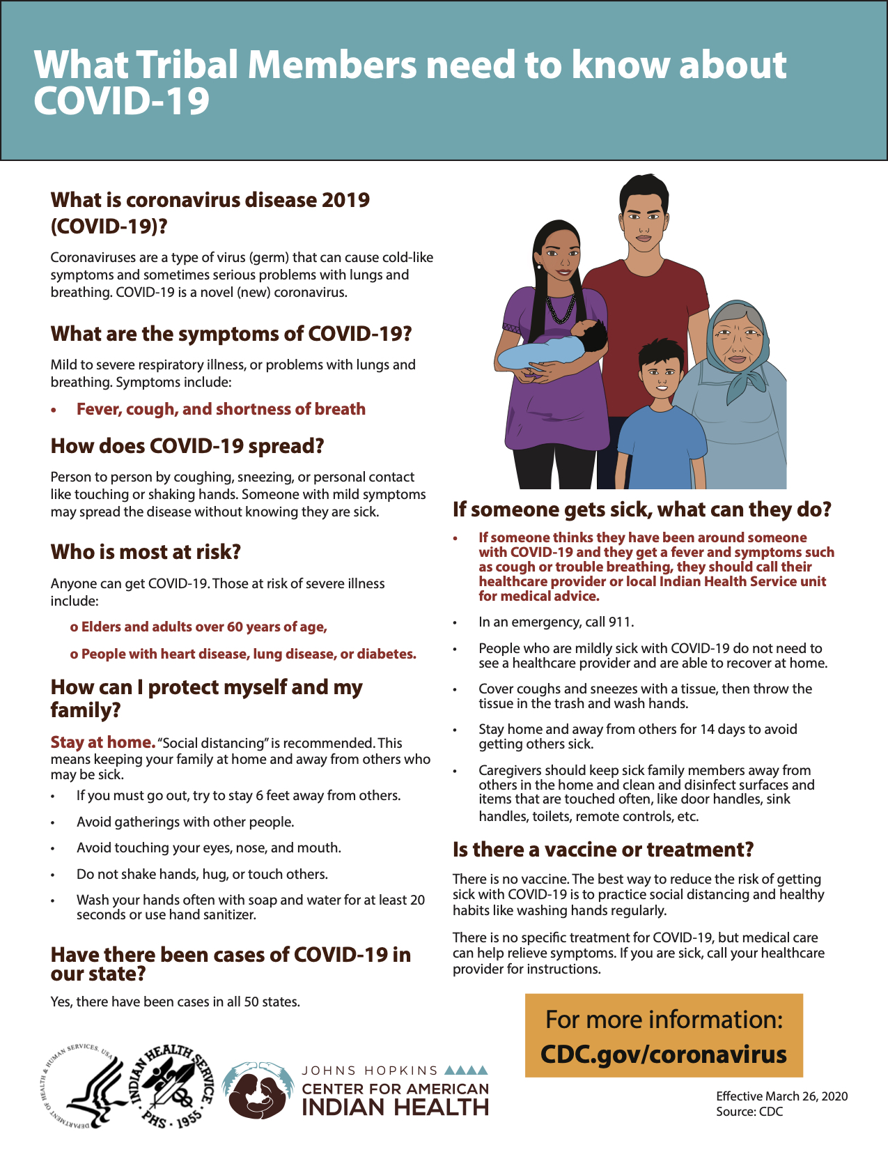 What Tribal Members need to know about COVID-19 flyer