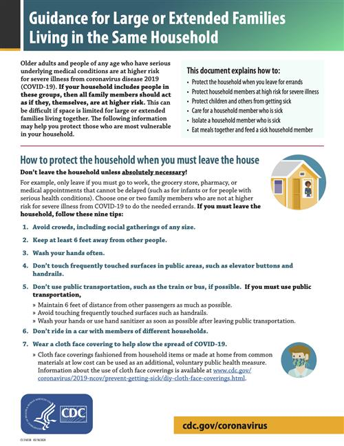 Guidance for Large or Extended Families Living in the Same Household flyer