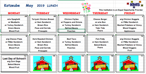 May Lunch Menu