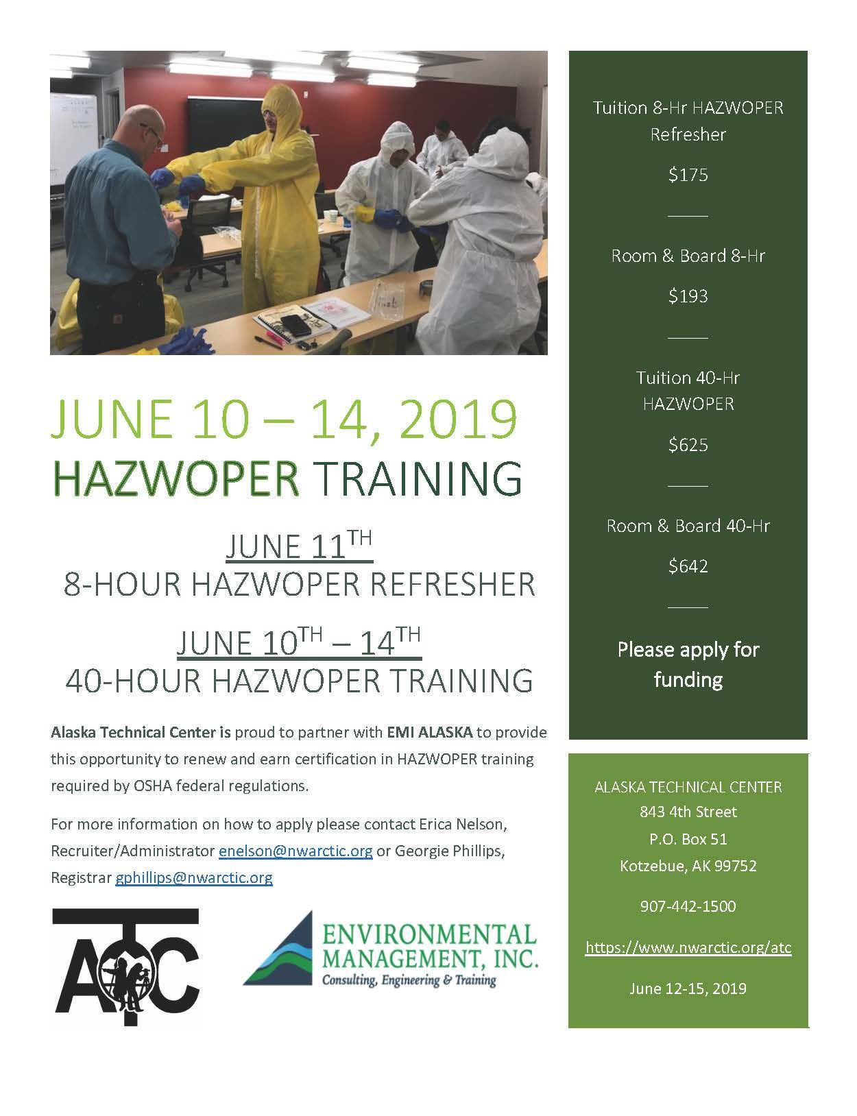CLICK HERE FOR AN APPLICAITON HAZWOPER TRAINING JUNE 10- 14, 2019