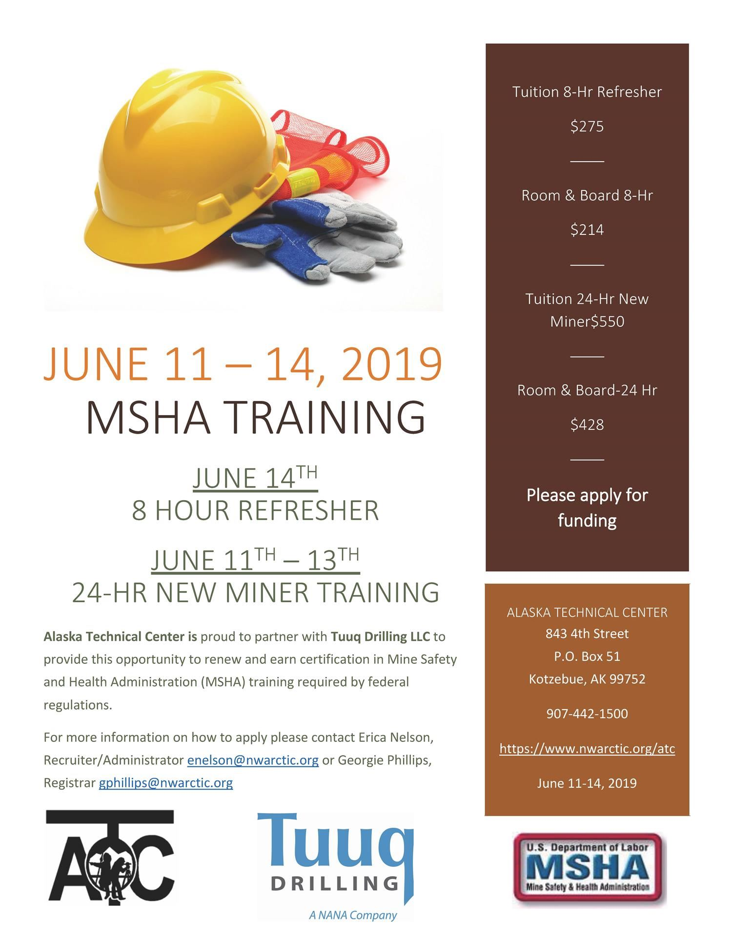 CLICK HERE FOR AN APPLICATION MSHA TRAINING JUNE 12 -15, 2019